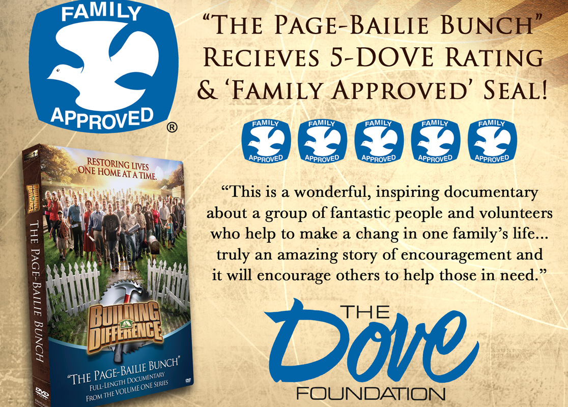 """THE PAGE-BAILIE BUNCH"" RECEIVES 5-DOVE' RATING & 'FAMILY APPROVED' SEAL"
